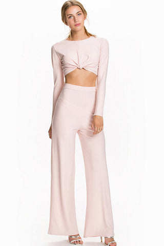 Pink Knotted Long Sleeves Wide Leg 2pc Outfit