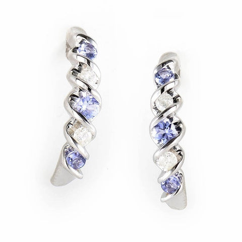 """10K White Gold Tanzanite & Diamond Earrings"" - SprintShopping"