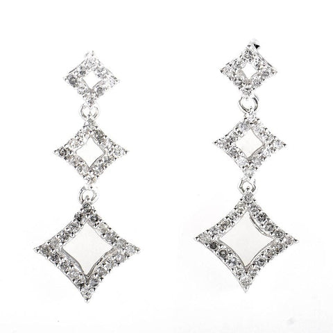 """10K White Gold Diamond Drop Earrings"" - SprintShopping"