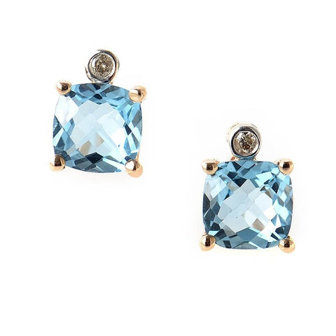 """10K Rose Gold Topaz & Diamond Stud Earrings"" - SprintShopping"
