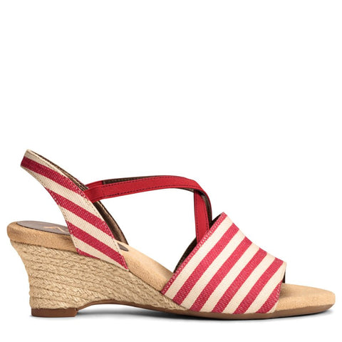 A2 by Aerosoles Women's Boyzenberry Wedge Sandals (Red Stripe) - 8.0 M