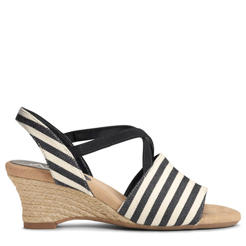 A2 by Aerosoles Women's Boyzenberry Wedge Sandals (Black Stripe) - 10.0 M