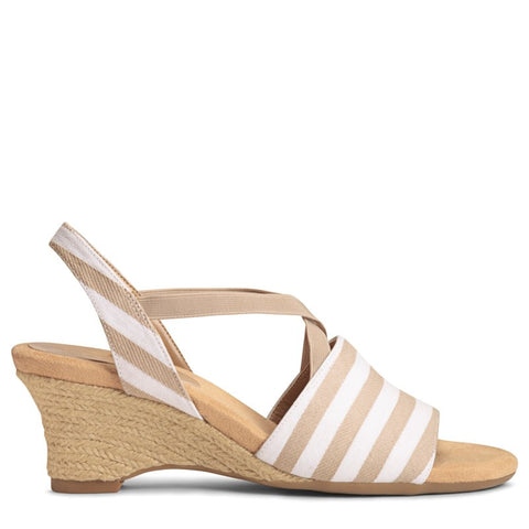 A2 by Aerosoles Women's Boyzenberry Wedge Sandals (Tan Stripe) - 6.0 M
