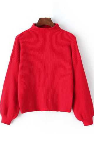 Solid Color High Collar Puff Sleeve Pullover Sweater