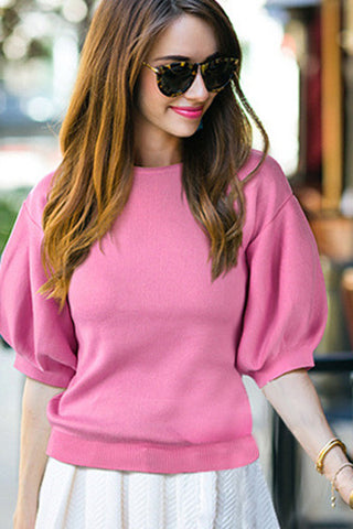Solid Color Puff Sleeve Chic Pullover Sweater