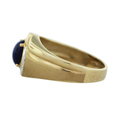 """10K Yellow Gold Lab Created Star Sapphire Diamond Mens Ring"" - SprintShopping"