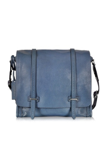 Ascott Blue Leather Large Messenger Bag