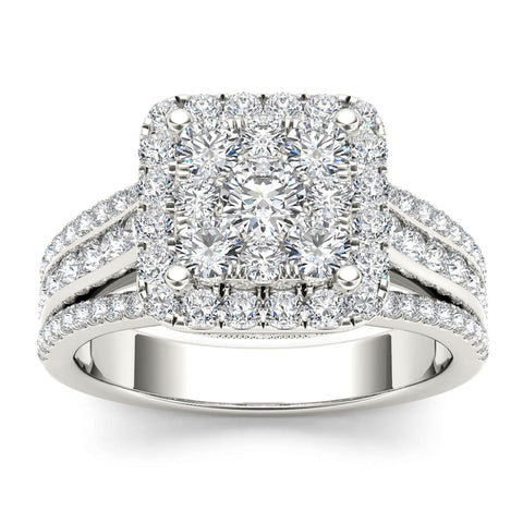 """1 1/2ct TDW Diamond Cluster Engagement Ring in 10K"" - SprintShopping"