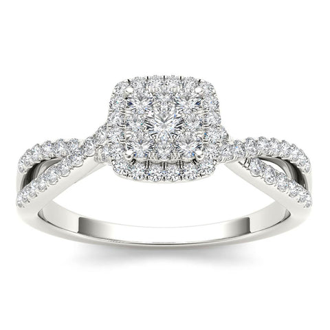"""1/2ct TDW Diamond Cluster Engagement Ring in 10K""-26626 - SprintShopping"
