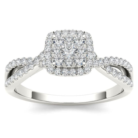 """1/2ct TDW Diamond Cluster Engagement Ring in 10K""-26625 - SprintShopping"