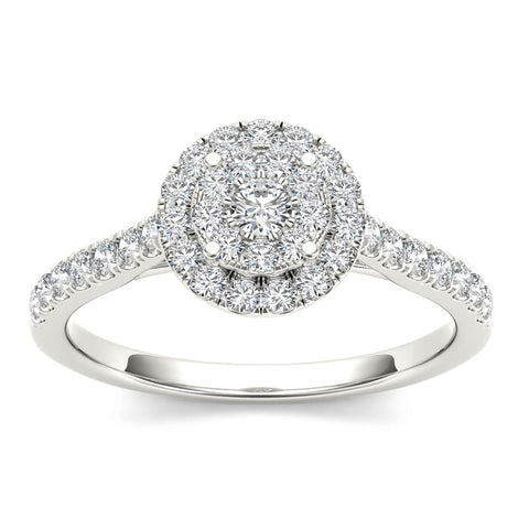 """1/2ct TDW Diamond Cluster Engagement Ring in 10K""-26624 - SprintShopping"
