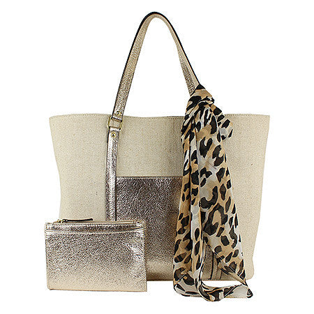 Emilie M 3-in-1 Cindy Canvas Tote, Scarf and Wallet -Women's