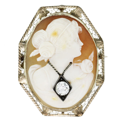 """14K Yellow Gold Shell Cameo Diamond Pin""-40570"