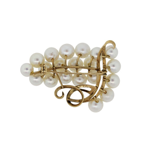 """14K Yellow Gold Multi Pearl Lapel Pin"""