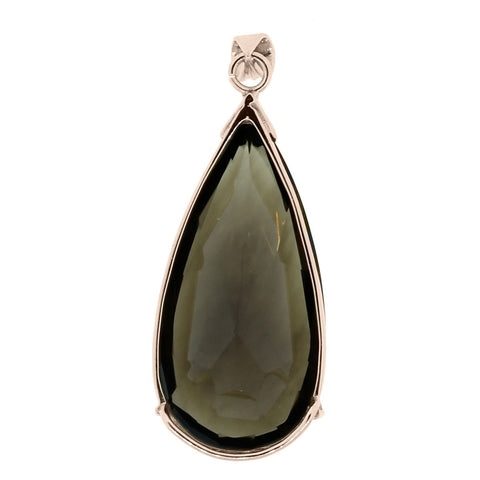 """10K Rose Gold Pear Shape Smoky Quartz Slide Pendant"" - SprintShopping"