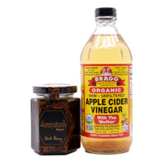 Bragg Organic Apple Cider Vinegar (473 ml) +  4HoneyNaturally Malaysia Rainforest Raw Dark Honey, 200g - Koyara - Health Marketplace Malaysia