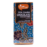 Vive Snack, 75% Dark Chocolate Bar (Cacao Nibs), 45g