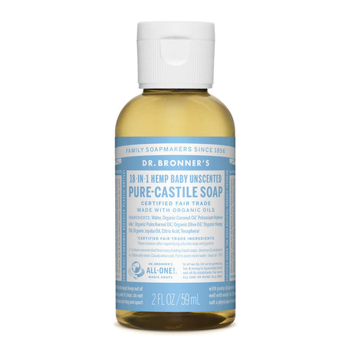 Dr Bronner's Pure-Castile Liquid Soap - Baby Unscented, 59ml- Koyara