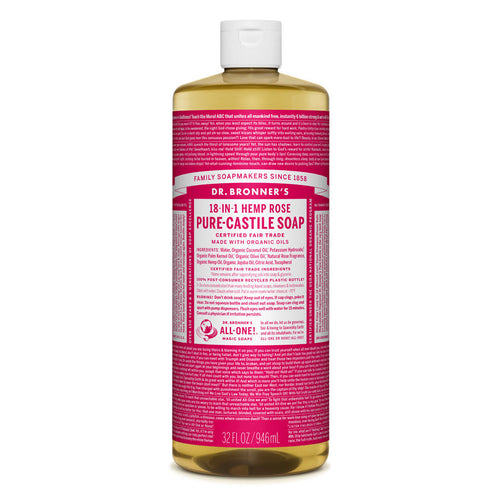Dr Bronner's Pure-Castile Liquid Soap - Rose, 946ml- Koyara