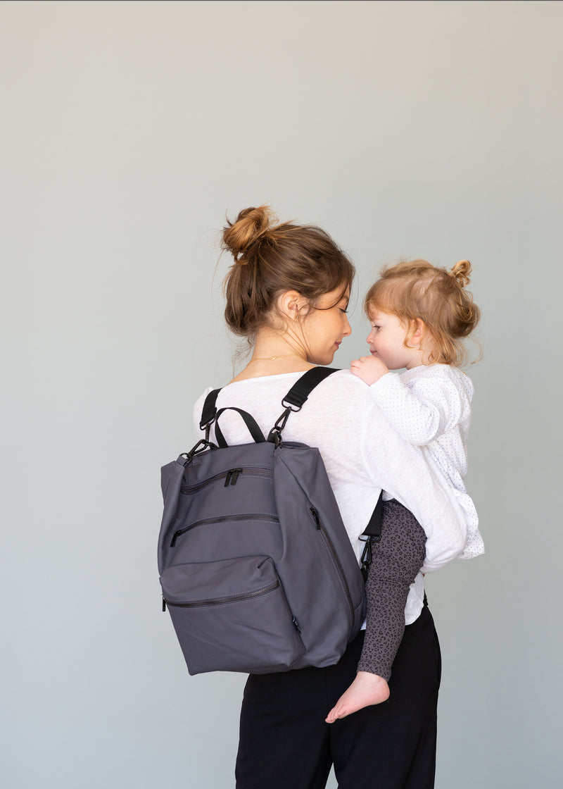 Big Canvas Diaper Bag | Grey