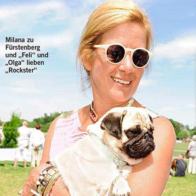 The Princess zu Furstenberg, mother of Feli and Olga (4yr old Pugs)