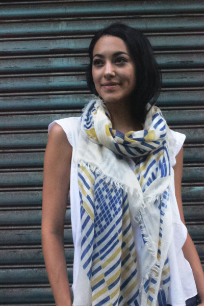 Ayesha Handwoven 100% Handwoven Cashmere Scarf For Women. Wardrobe Essentials. Modern Style. Contemporary Design. Blue, White, Yellow.