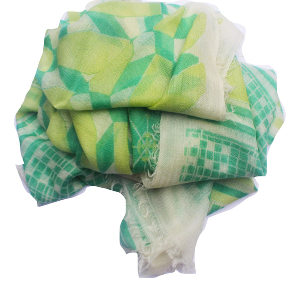100% Cashmere Scarf by Ayesha - Decogrid Green