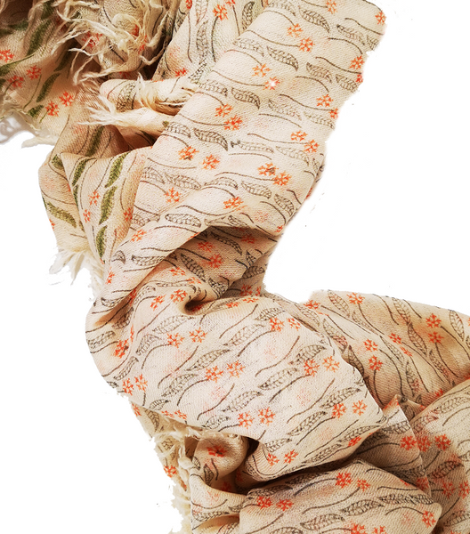 Tropical Journey Block Printed Small Flowers 100% Cashmere Twill Weave Long Scarf (Coral)