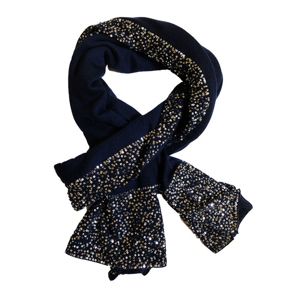 Ayesha Cashmere Indigo Blue Wrap With Sequins