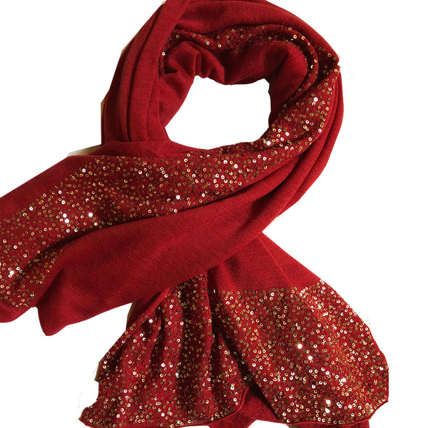 Ayesha Cashmere Festive Wrap Red With Gold Sequins