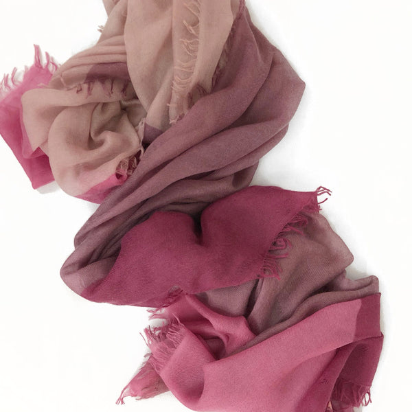 Sakura Bloom 100% Cashmere Pink Colour Block Scarf