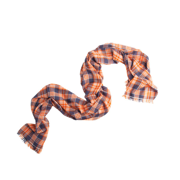 Madder Check 100% Cashmere Long Scarf (Blue)