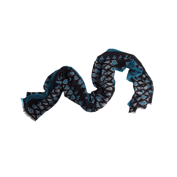 Temple Ikat 100% Cashmere Long Scarf (Blue)