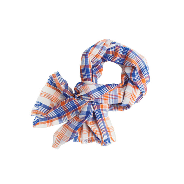 Madder Check 100% Cashmere Long Scarf (Cream)