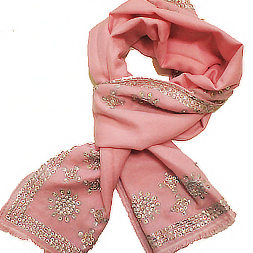 Bidri 70% Cashmere 30% Silk Embroidered Long Scarf