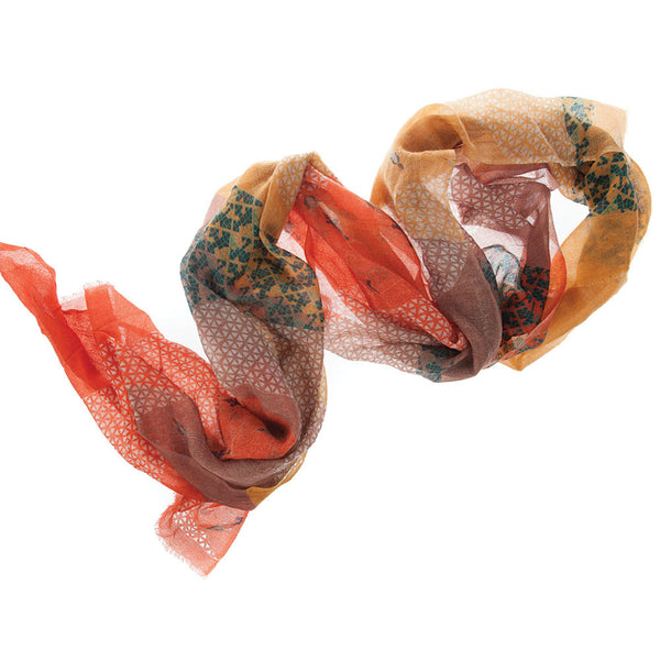 Leaf Autumn 100% Cashmere Long Scarf (Rustic)