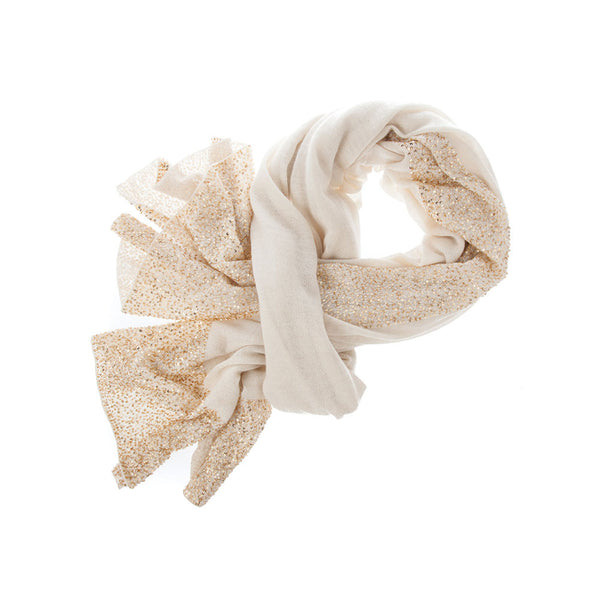 Bidri 100% Cashmere Knitted Wrap (Cream with Gold Sequins)