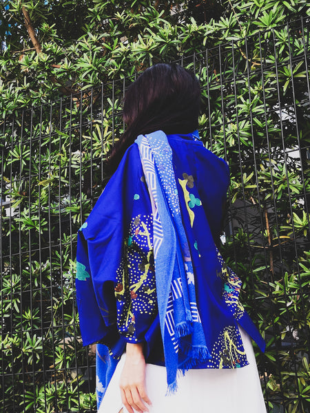 ZEN GARDEN CHANDERI BLOCK PRINTED JACKET BLUE