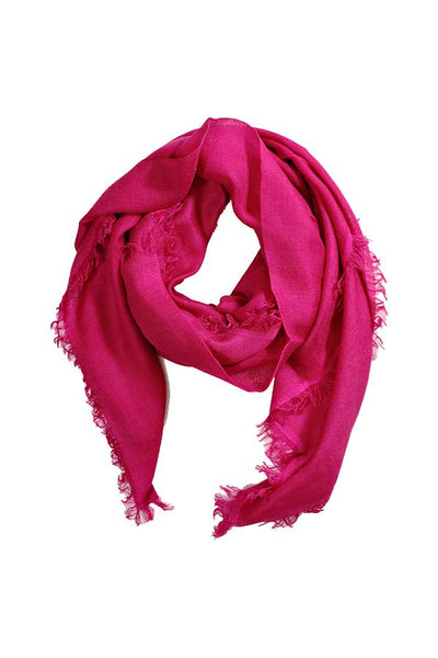 100% Cashmere Solid Fuchsia Pink Colour Gossamer Lightweight Large Wrap