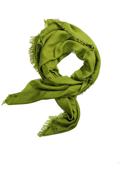 100% Cashmere Solid Lime Green Colour Gossamer Lightweight Large Wrap