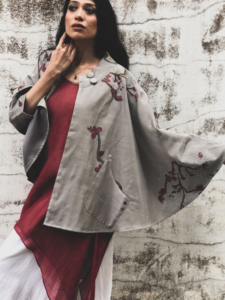 ZEN GARDEN CHANDERI BLOCK PRINTED JACKET GREY