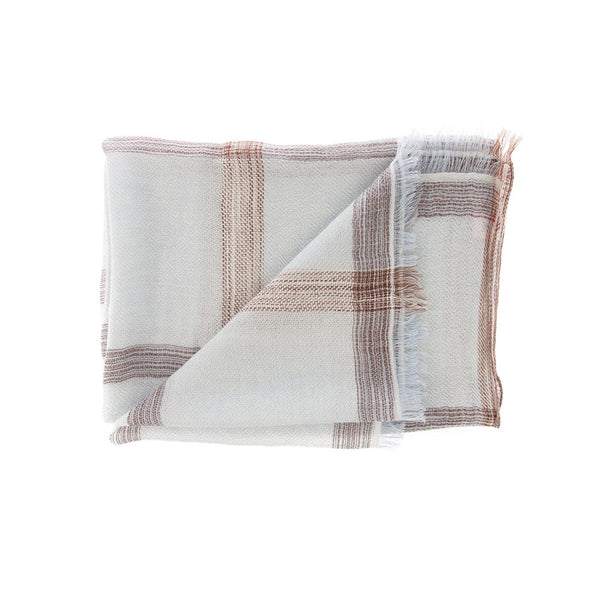 Ikat Basket 100% Cashmere Long Scarf (Sky Blue)