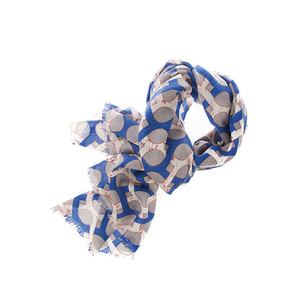 Jaali 100% Cashmere Long Scarf (Blue)