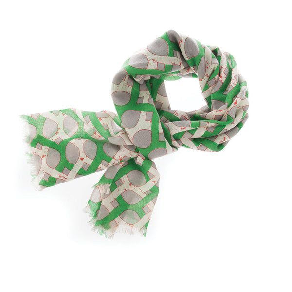 Jaali 100% Cashmere Long Scarf (Green)
