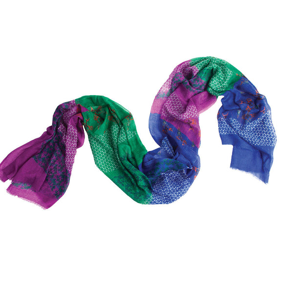 Leaf Spring 100% Cashmere  Long Scarf (Jewel)
