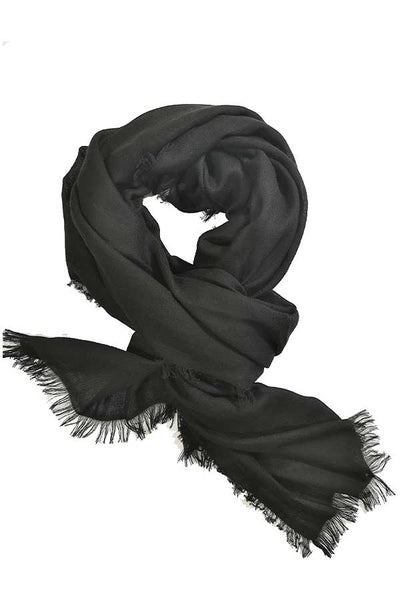100% Cashmere Solid Black Colour Large Travel Wrap