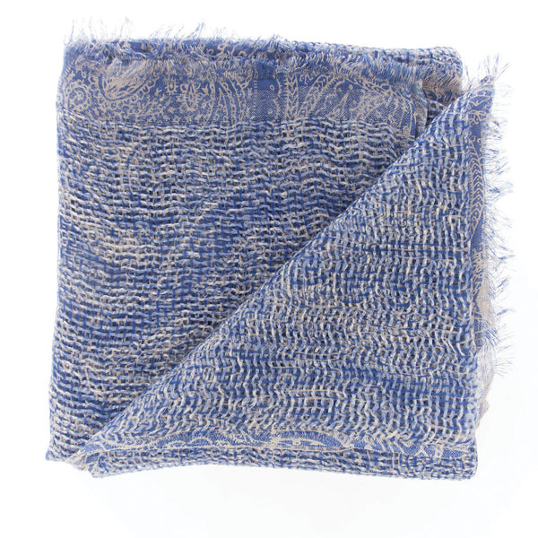 Natural Curiosities 50% Cashmere 50% Linen Long Scarf (Blue)