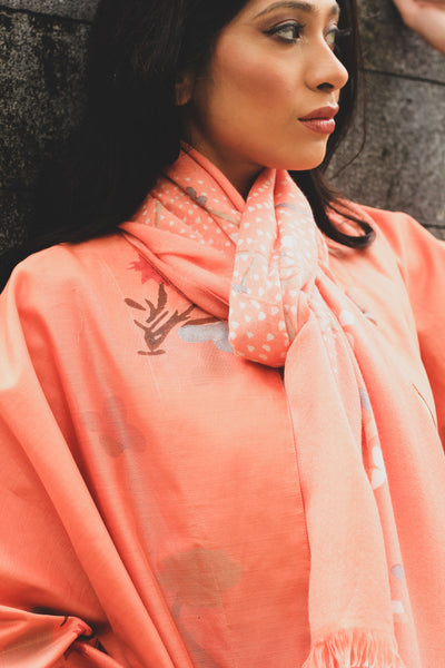 ZEN GARDEN CHANDERI BLOCK PRINTED JACKET CORAL