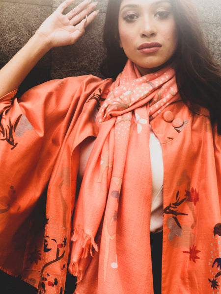 The Ayesha Chanderi Silk Jacket - a perfect gift for all occasions. In a beautiful peachy coral, for those who love something with a pop of colour.