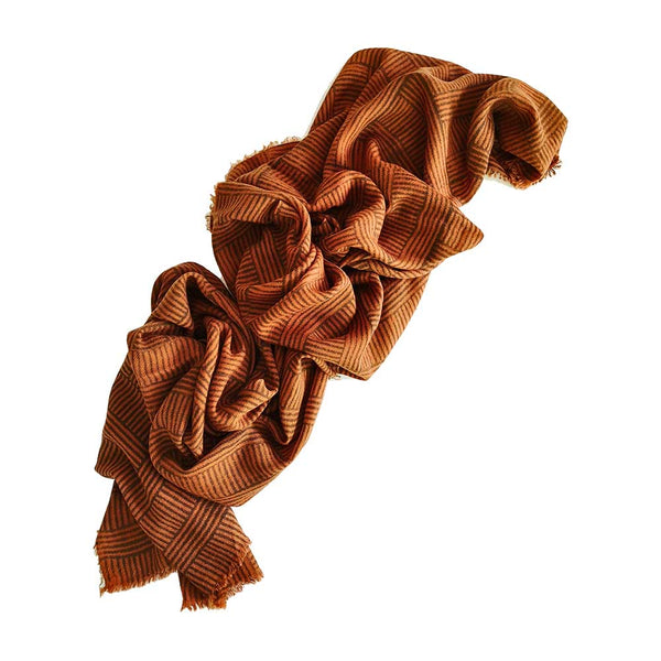 Sanganer Modern Striped Blockprinted Rust Twill Cashmere Scarf 200 x 70cm